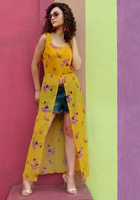 Yellow Floral Front Slit Maxi Top