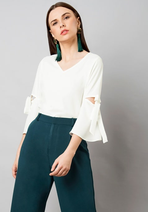 CLASSICS Tie-Up Sleeves Blouse - White
