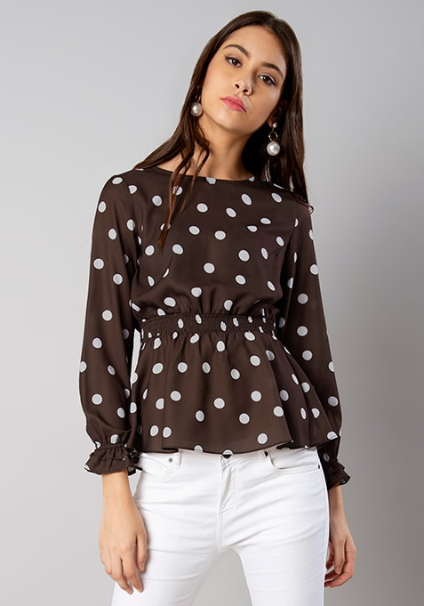Brown Polka Dot Elasticated Waist Top