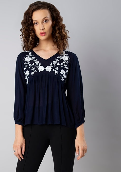 Navy Emboidered Yoke Peasant Top