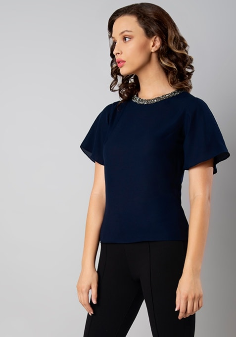 Navy Embellished Neck Top