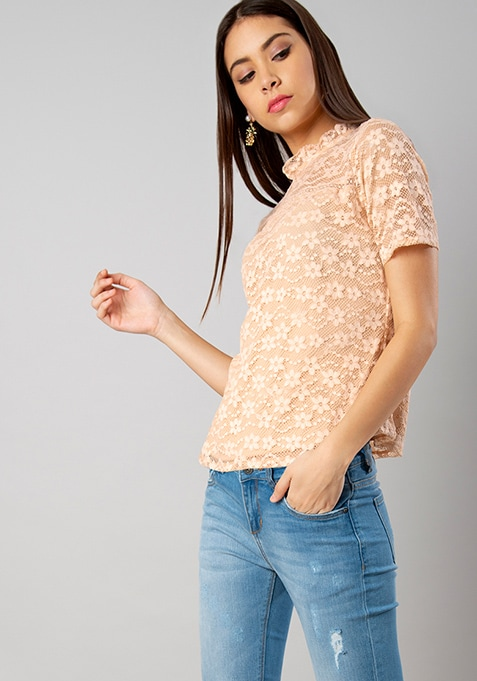 Nude Ruffled Neck Lace Top