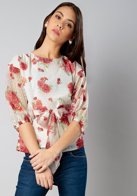 White Floral Belted Swiss Dot Top