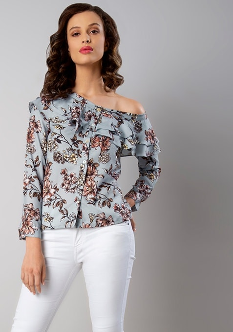 Light Blue Floral One Shoulder Ruffle Top