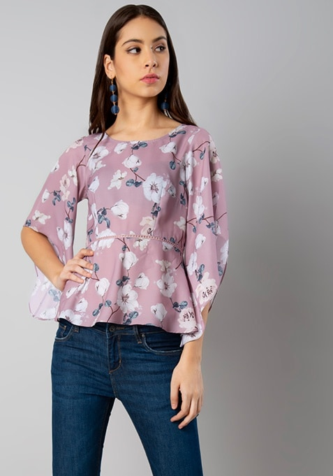 Lilac Floral Cape Sleeve Top