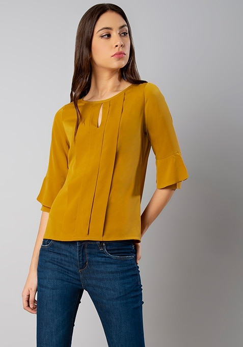 Mustard Pleated Front Bell Sleeve Top