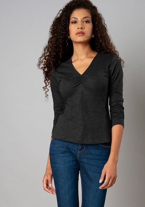 Charcoal Ruched Neck Full Sleeve T-Shirt