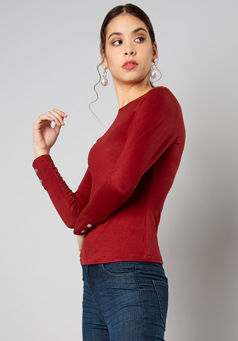 Maroon Buttoned Cuff T-Shirt