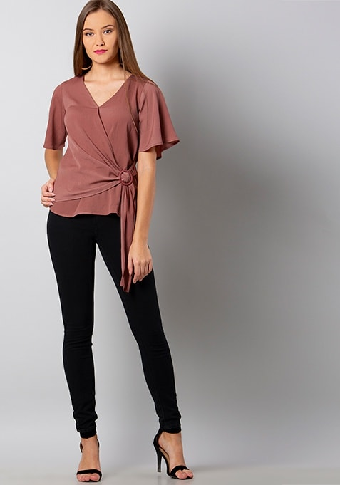 Dusty Pink Flared Sleeve Wrap Top