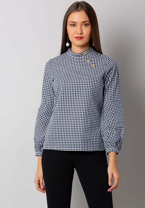 Blue Mock Button High-Neck Top