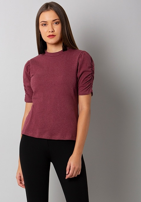 Maroon Ruched Sleeve Jersey Top