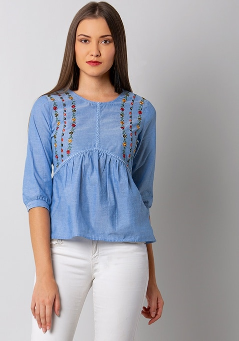 Blue Chambray Embroidered Top