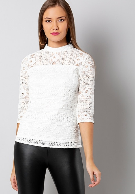 White High-Neck Lace Top