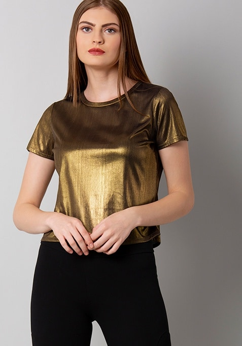 Gold Lurex Longline Crop Top
