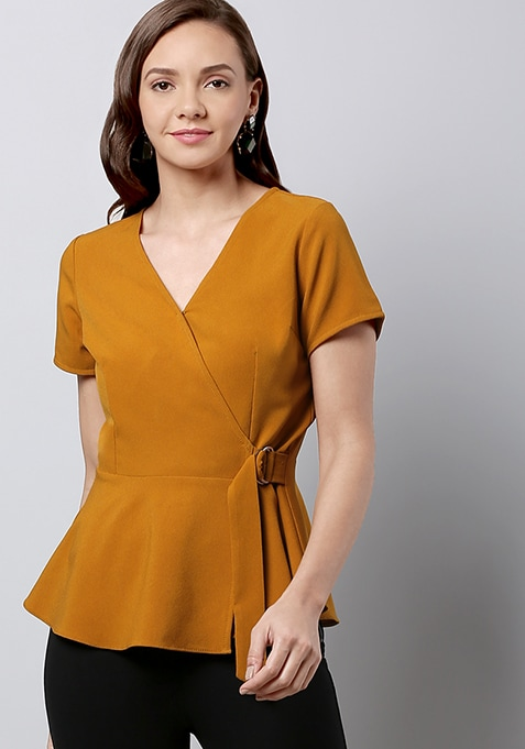 Mustard Side Tie Wrap Top