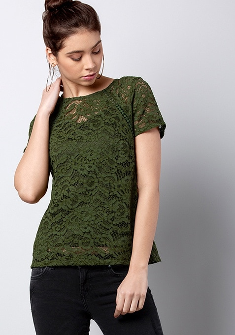 Olive Short Sleeve Lace Top