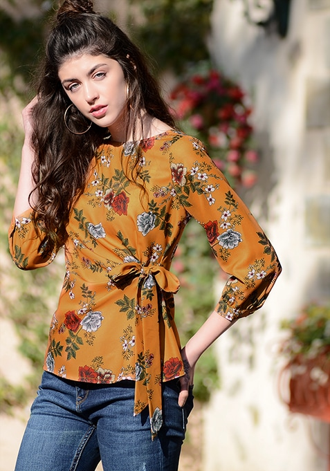 Mustard Floral Gathered Tie Top