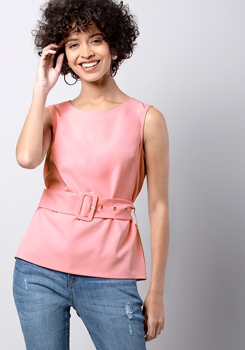 Pink Belted Buckle Top
