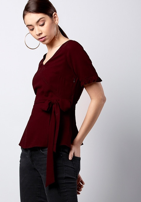 Maroon Belted Top With Ruffled Sleeves