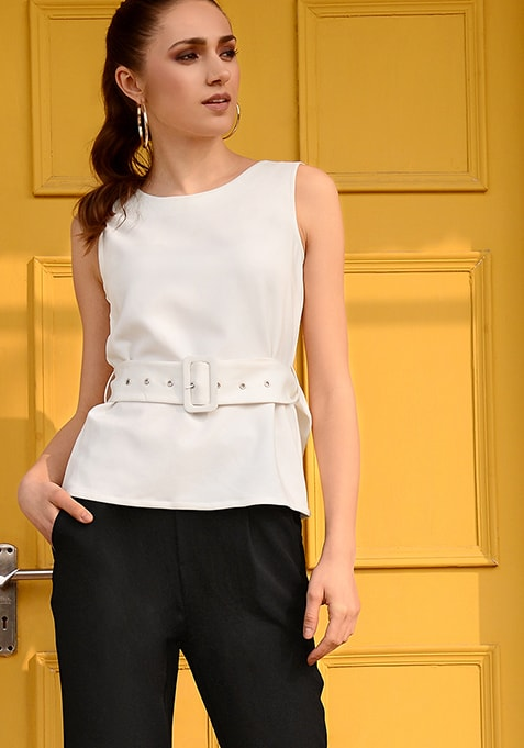 White Belted Buckle Top