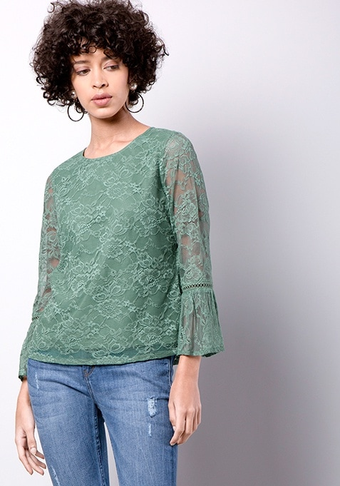 Green Bell Sleeve Lace Top