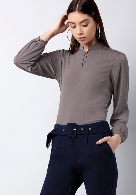 CLASSICS Grey Smocked Shoulder Blouse