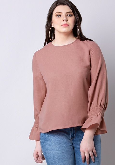 CLASSICS Pink Smocked Sleeves Blouse