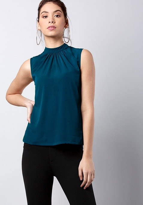 CLASSICS Teal Back Tie Up Blouse