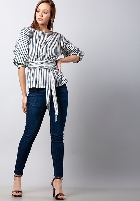 Navy Striped Belted Blouse