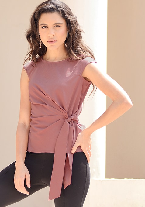 CLASSICS Pink Side Tie-Up Blouse