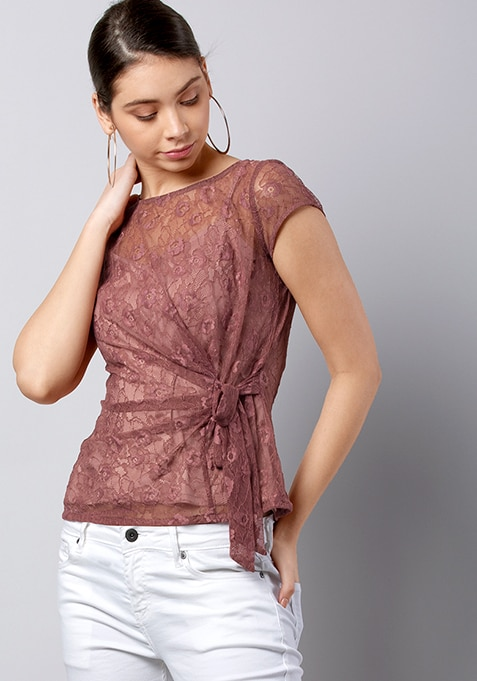 Pink Side Tie-Up Lace Blouse