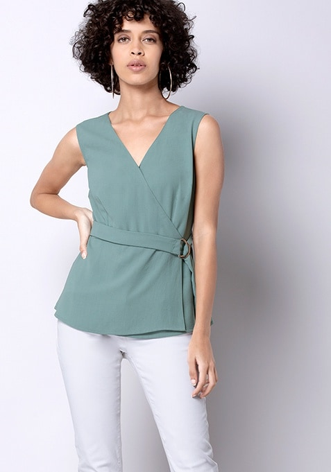 Light Green Belted Wrap Top