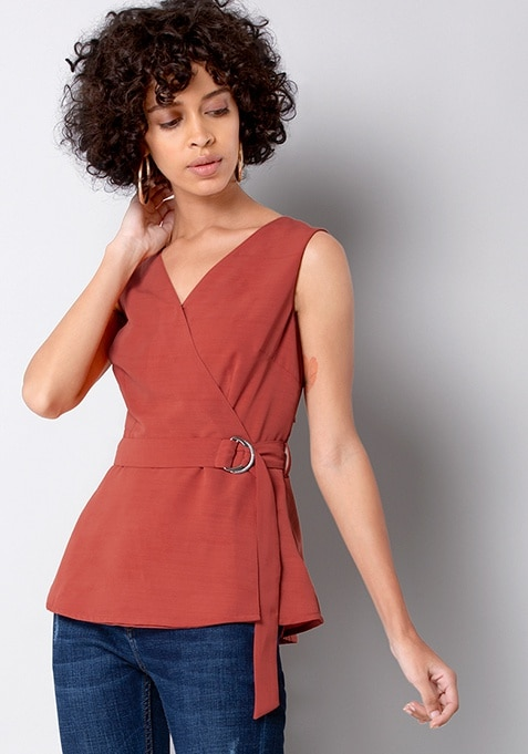 Rust Buckled Wrap Top