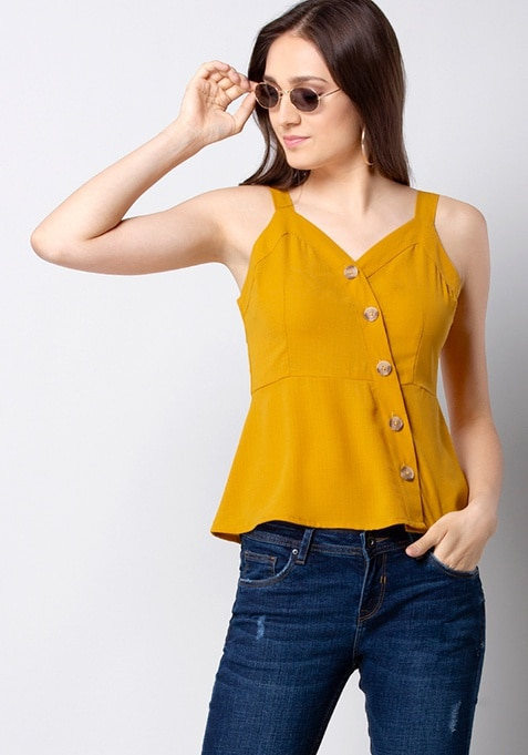 Mustard Button Detail Strappy Top