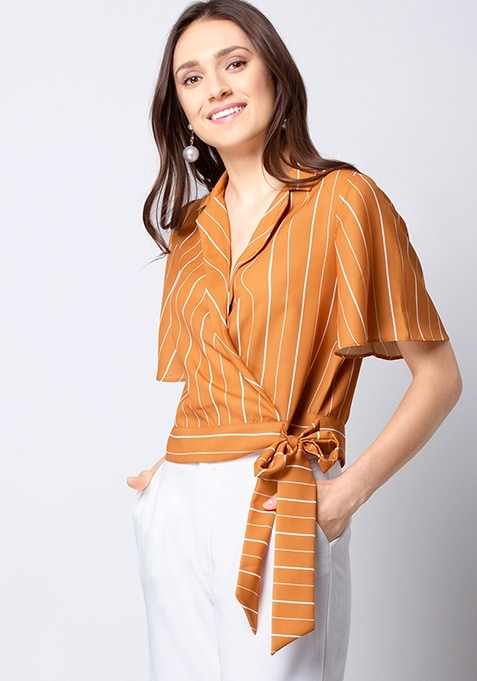 Mustard Striped Collared Wrap Top