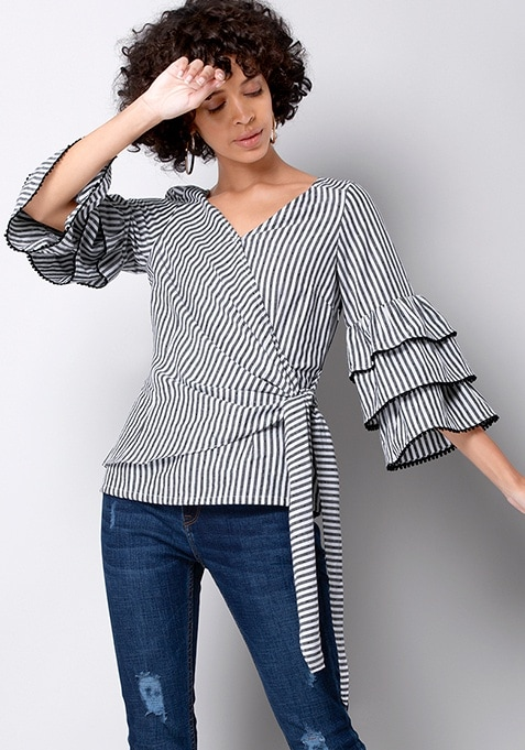 Black Striped Bell Sleeve Wrap Top