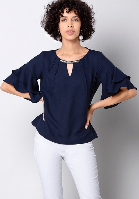 Navy Embellished Top With Flared Sleeves
