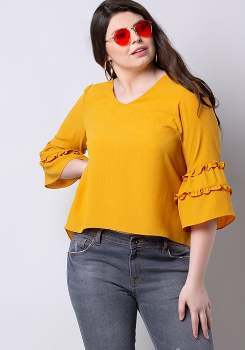 ALL Mustard Frilled Sleeved Top