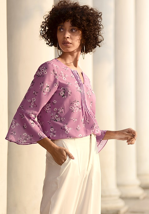 ALL Pink Floral Pin Tuck Placket Top