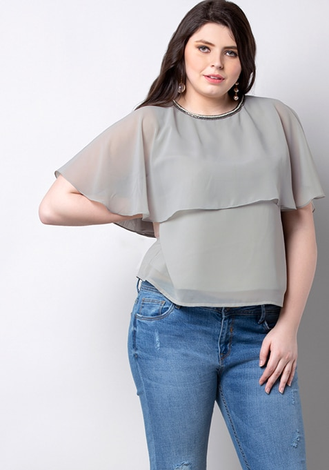 ALL Grey Embellished Cape Top
