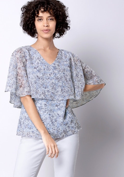 Powder Blue Floral Cape Top
