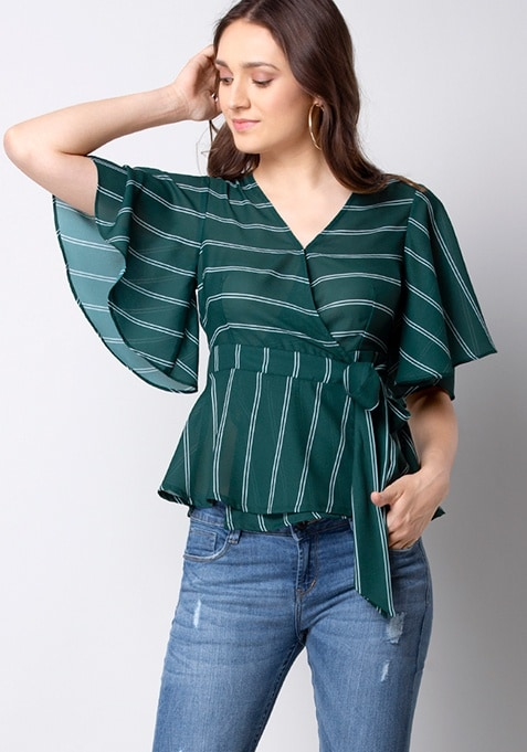 Teal Striped Flared Sleeve Wrap Top