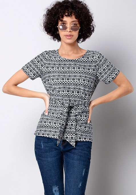 White Aztec Belted Jersey Top