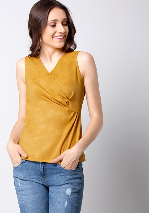 Mustard Side Drape Top