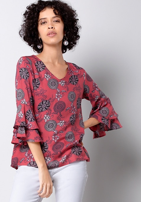 Coral Floral Double Bell Sleeve Top