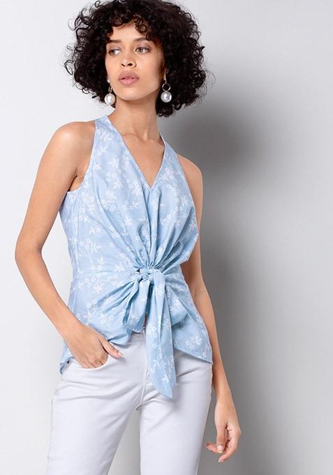 Blue Floral Knotted Halter Top