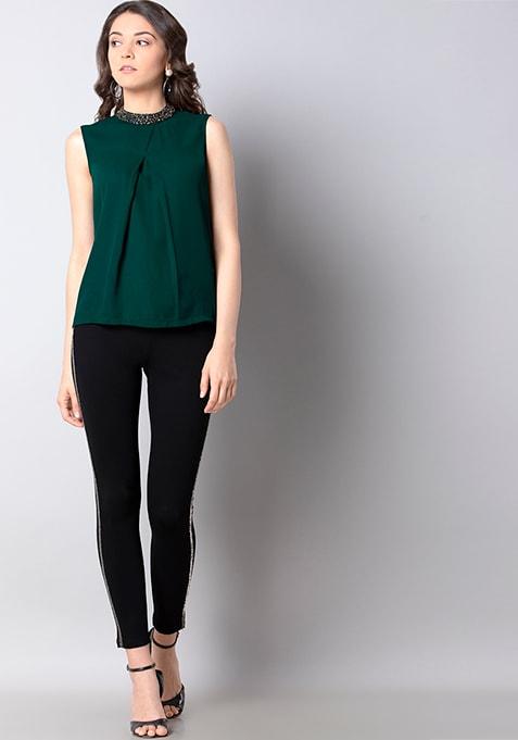 Green Embellished High Neck Top