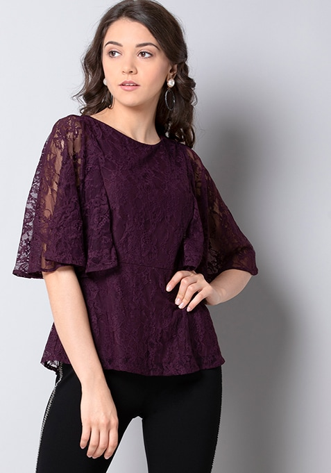 Wine Cape Sleeve Lace Top