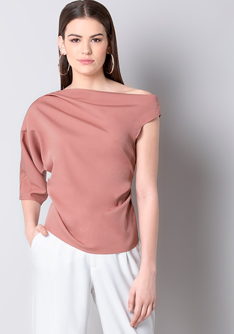 Dusty Pink Asymmetric Sleeve Top