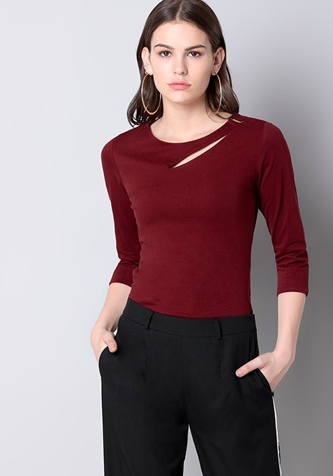 Oxblood Neck Cut Out Fitted Top